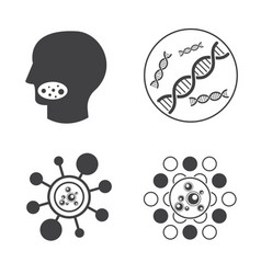 dna and virus icons vector image vector image