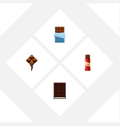 Flat icon cacao set of sweet dessert delicious vector