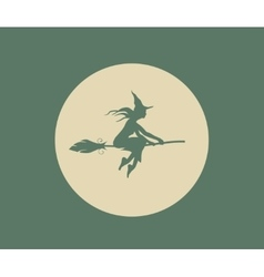 Flying young witch silhouette on a broomstick vector