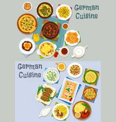 German cuisine lunch icon set with meat dishes vector