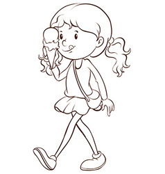 Girl and icecream vector image vector image