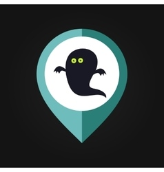 Halloween ghost mapping pin icon vector