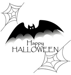 happy halloween concept black bat with text and vector image vector image