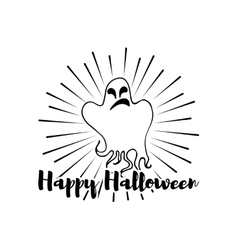 Happy Halloween Ghost Label vector image vector image