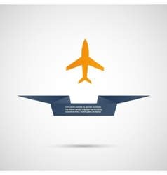 Icon flat plane and ribbon for your text vector image