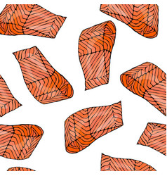 image seamless pattern with salmon filet for vector image vector image