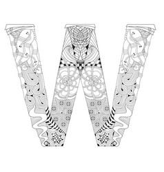Letter w for coloring decorative zentangle vector