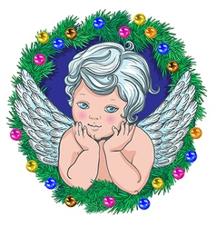 little angel Christmas wreath of tree garland vector image vector image