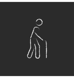Man with cane icon drawn in chalk vector