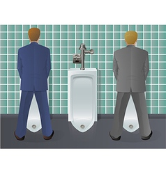 Men using urinal vector