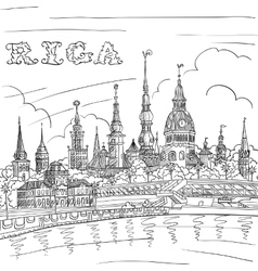 Old Town and River Daugava Riga Latvia vector image vector image