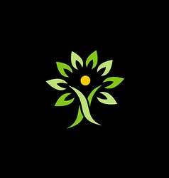 people green tree organic logo vector image