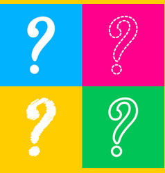 Question mark sign four styles of icon on four vector