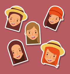 Set of happy faces women avatar icons vector