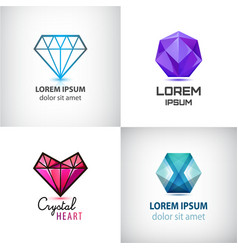 set of jewelery logos diamond vector image vector image