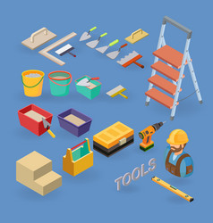Set of tools equipment and items isometri vector
