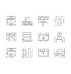 Set of underfloor heating flat line icons vector image