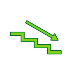 Stair down with arrow lemon scribble icon vector
