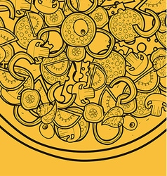 Template background with pizza doodle designs for vector image vector image