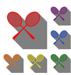 Tennis racquets sign set of red orange yellow vector