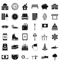 Villa icons set simple style vector