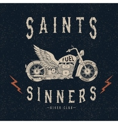 Vintage label with motorcycle vector