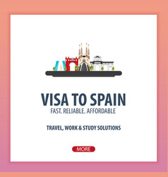 Visa to spain document for travel flat vector