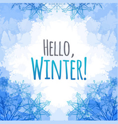 winter cover with doodle snowflakes and blue vector image vector image