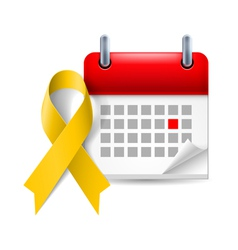 Yellow awareness ribbon and calendar vector image vector image