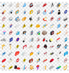 100 settings icons set isometric 3d style vector