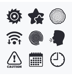 Wood and saw circular wheel icons attention vector