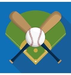Ball league and bat of baseball sport design vector