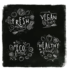 Eco label chalk vector image