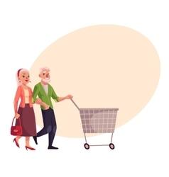 Old senior elder couple shopping together vector image
