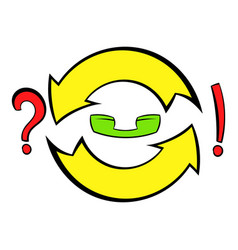 Circular arrow question and exclamation mark icon vector