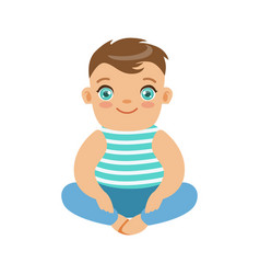 Happy smiling baby sitting on the floor colorful vector