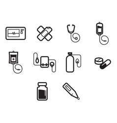 Thin line medical icon set vector