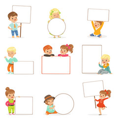 Cute kids holding white blank boards in different vector