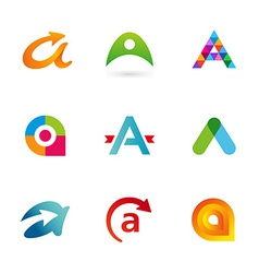 Set of letter a logo icons design template vector