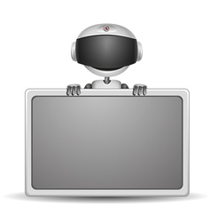 Cute robot with board vector