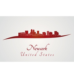 Newark skyline in red vector