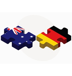 Australia and germany flags in puzzle vector