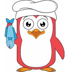 Penguin Chef Holding a Fish vector image
