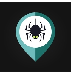 Spider halloween mapping pin icon vector