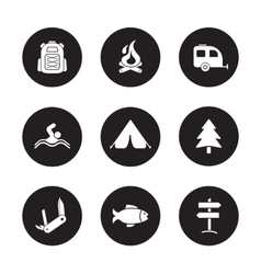 Camping and tourism black icons set vector