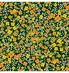 Abstract seamless yellow floral ornament on green vector
