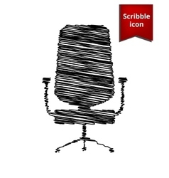Office chair icon isolated with pen effect vector