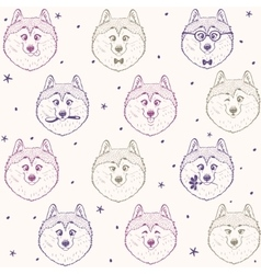 Seamless pattern husky vector