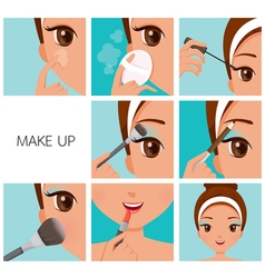 Make up step tan skin vector
