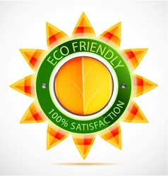 Eco friendly sun label vector